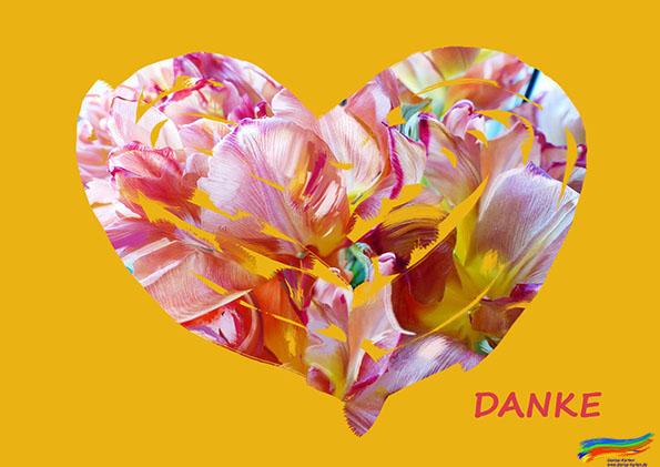 Tulpe als Herz-Danke (© Dorisa-Karten)